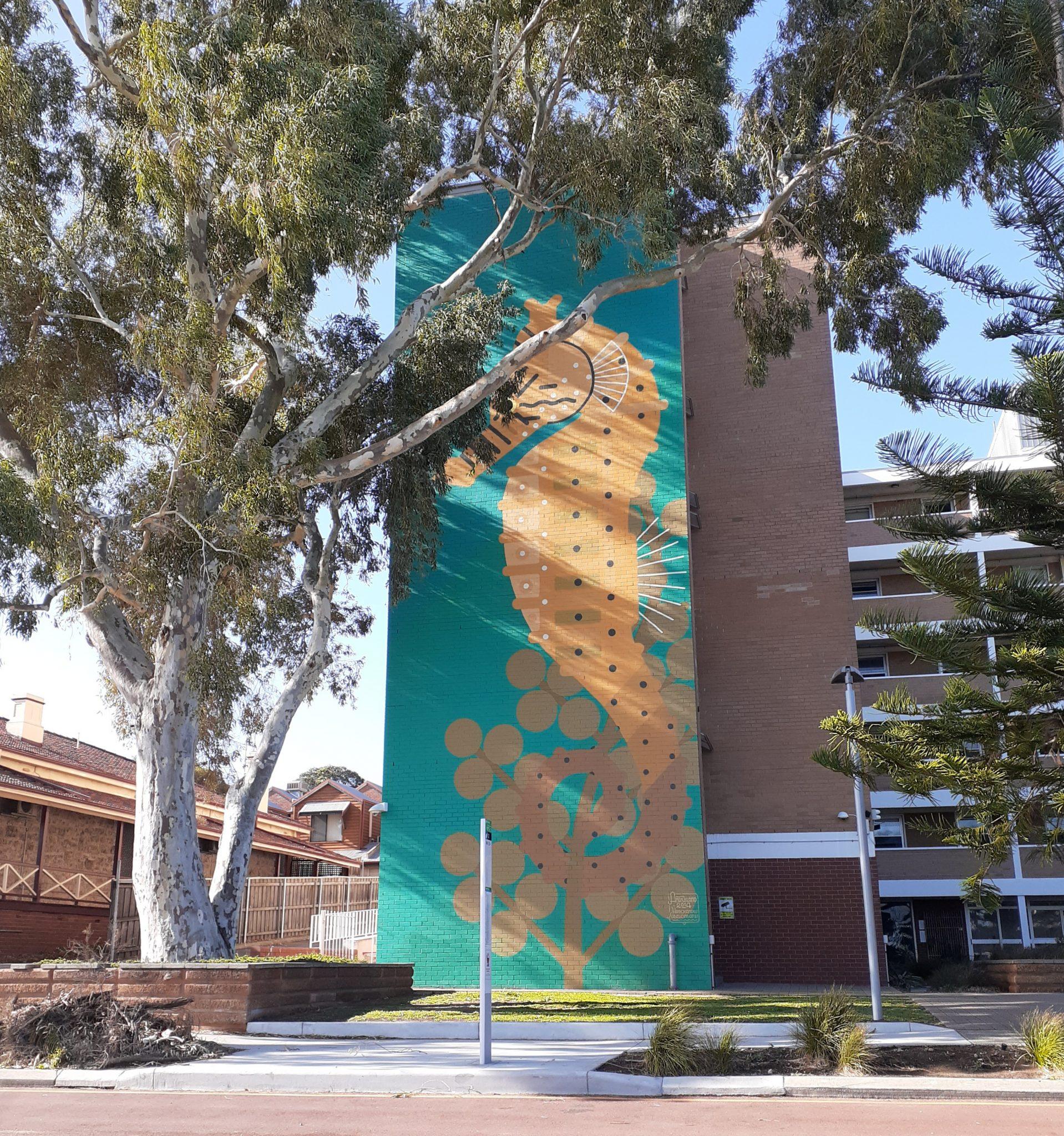 A seahorse mural on Hampton Road Fremantle
